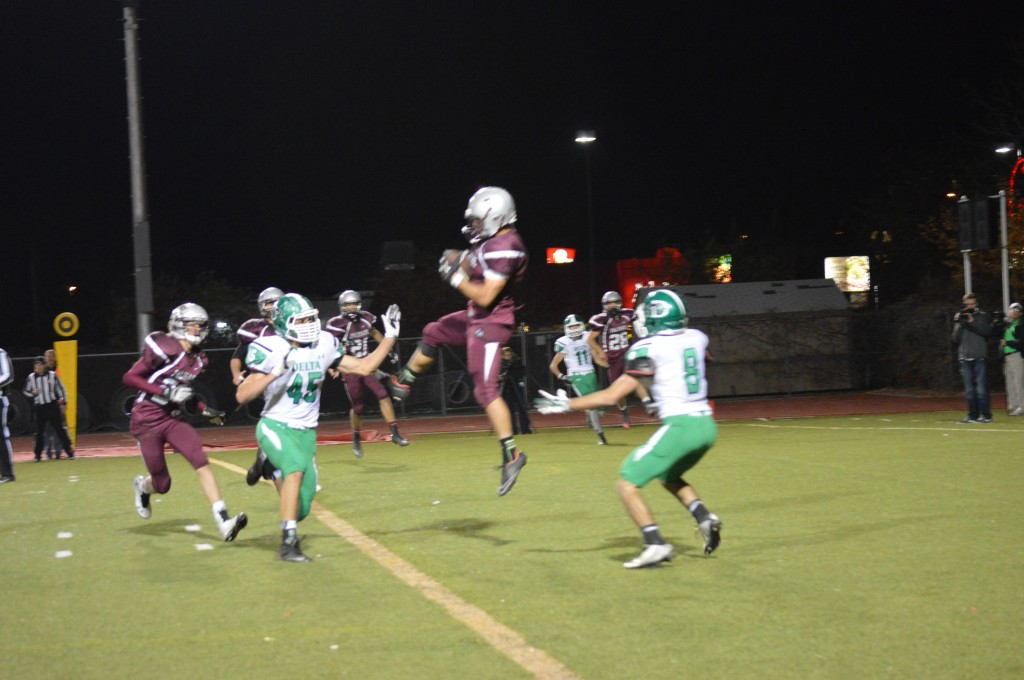 Marquis Combs makes a key interception, preventing what could have been another Delta touchdown.
