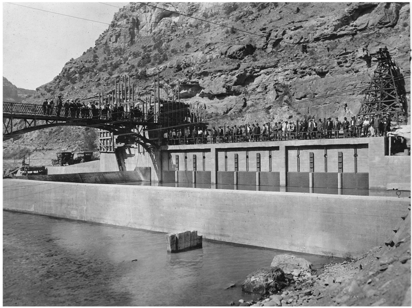 Official Dedication of the Grand River Diversion Dam with members of the Congressional Appropriations Committee on June 29, 1915.