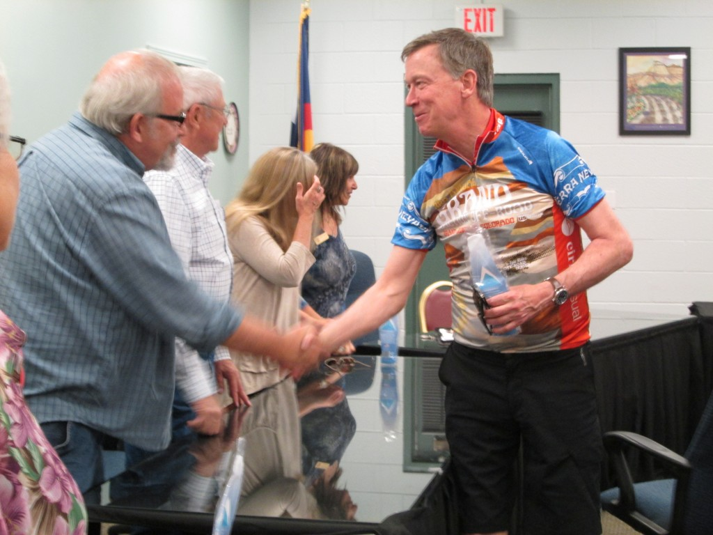 GOV. JOHN HICKENLOOPER SHAKES HANDS WITH PALISADE MAYOR PROTEM DAVE EDWARDS, 5-15-16