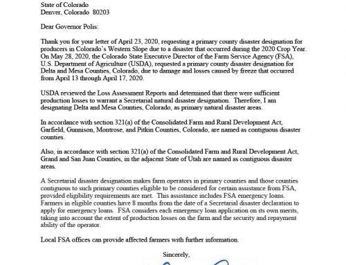 USDA Disaster Designation: Colorado, June 18, 2020